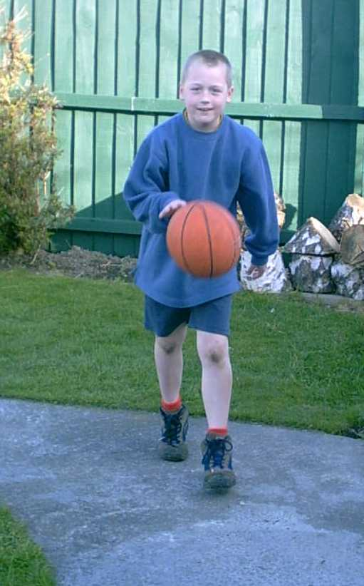 photo of me playing basketball at home